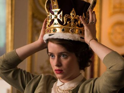 Claire Foy as Queen Elizabeth in The Crown trying on the a replica of the St Edward's Crown 1