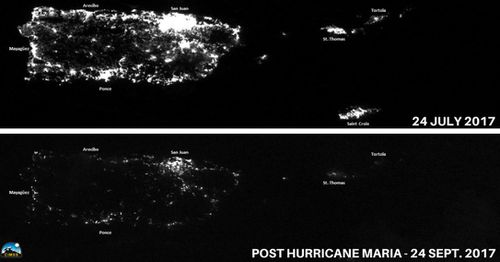 A satellite image of Puerto Rico shows the reality of how much power it has lost because of the storm. (NOAA)