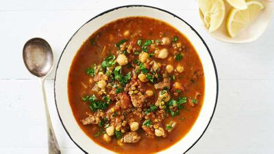 """Recipe: <a href=""""http://kitchen.nine.com.au/2017/08/01/16/38/one-pan-moroccan-lamb-harira-soup-with-lentils-and-chickpeas"""" target=""""_top"""" draggable=""""false"""">One-pan Moroccan lamb harira soup</a>"""