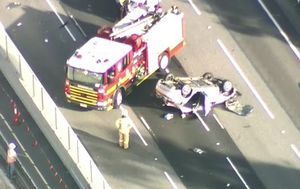 Traffic pile up on Melbourne freeway after car rollover
