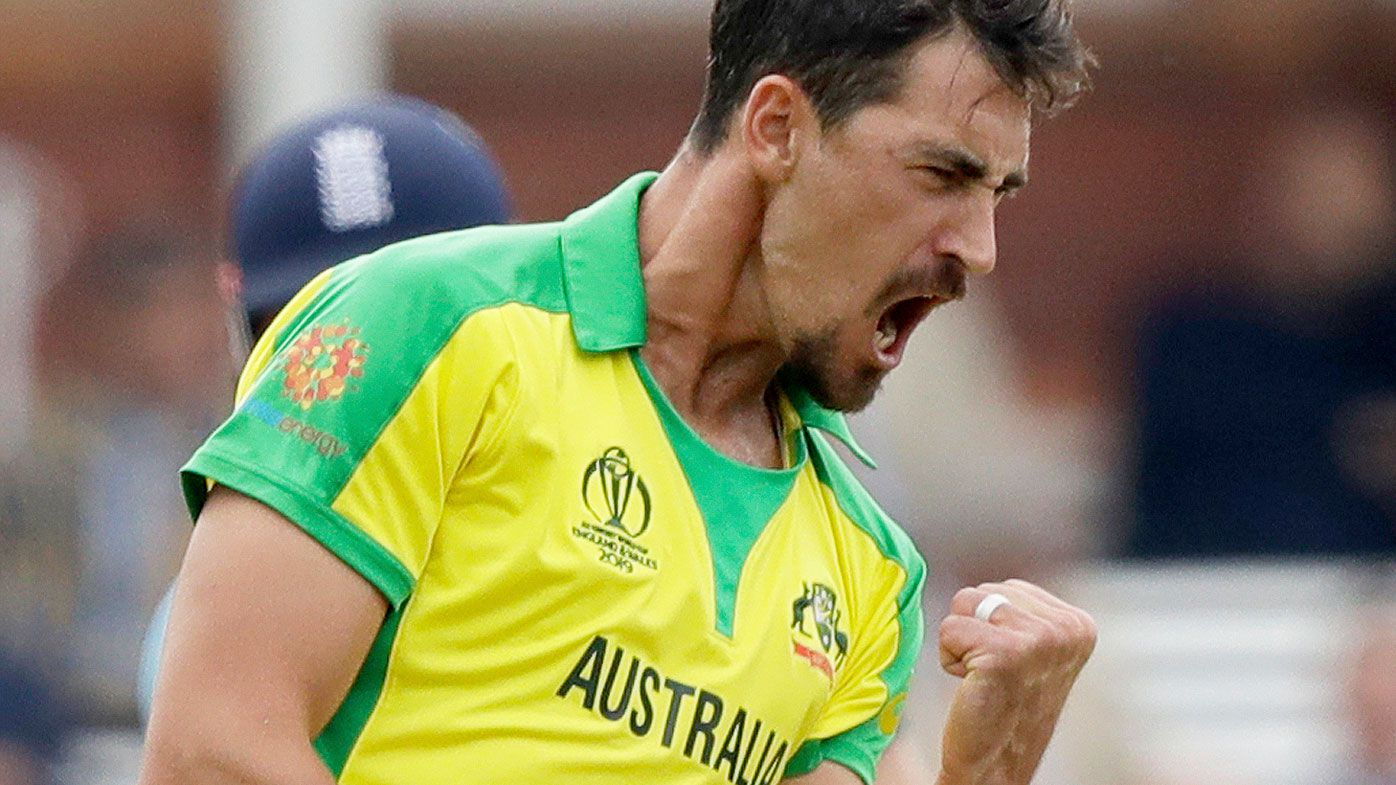 Mitchell Starc celebrates against England