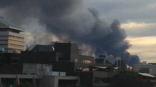 The smoke cloud seen from further east. (Manjinder Sandhu)