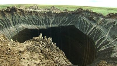Seven giant craters mysteriously appeared in Northern Siberia, which is thought to have been created from methane gas released from melting permafrost, according to Live Science. <br> <br> Scientists have called for an urgent investigation. Two of the craters have now turned into lakes. (AAP)