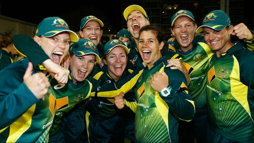 Australia players celebrate their win over England during the 2nd NatWest T20 of the Women's Ashes Series between England and Australia. (Getty)