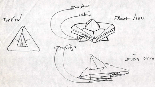A sketch of the craft done by witness, Staff Sergeant Jim Penniston. Mr Penniston and Airman John Burroughs claimed they saw a triangular craft land in Rendlesham Forest.