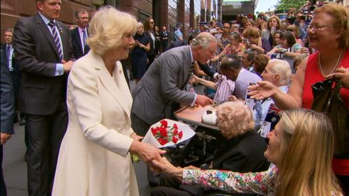 Prince Charles and Camilla shake hands with Sydneysiders in the CBD