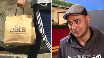 Burger restaurateur Shravan Gautam said a loophole allowed rogue delivery drivers that work for companies like Uber Eats to steal food. (A Current Affair)