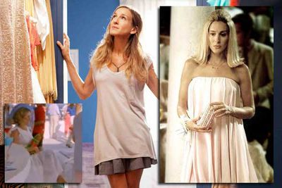 The fifth season of <i>Sex and the City</i> saw fashionista Carrie Bradshaw trade clothes-nobody-would-ever-wear-in-real-life for curtains-nobody-would-ever-wear-as-clothes-in-real-life. This was all until the bump became too much and she acted out the remainder of her scenes in a chair, inexplicably holding children's toys.