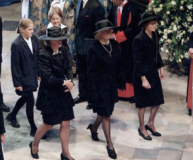 Frances Shand-Kydd attends her daughter Princess Diana's funeral.