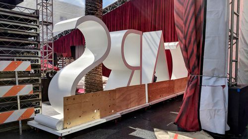 The official Oscars signage. (9NEWS/Ehsan Knopf)