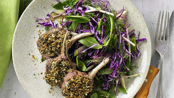 Herb crusted lamb cutlets with red cabbage and green apple slaw
