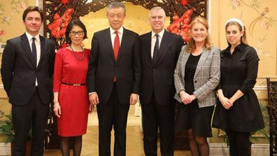 Prince Andrew, Sarah Ferguson, Princess Beatrice, Edoardo Mapelli Mozzi with Chinese Ambassador to the UK Liu Xiaoming and his wife celebrating Chinese New Year