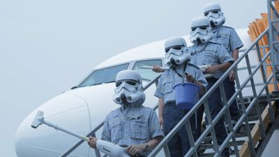 Stormtroopers were part of the grand reveal and several of them accompanied the jet. (Facebook)