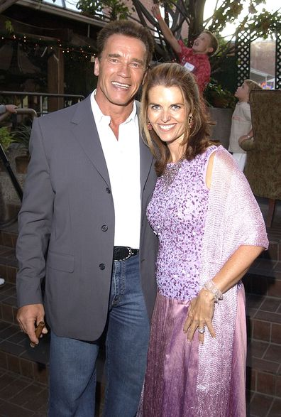 Arnold Schwarzenegger and Maria Shriver celebrates his 55th Birthday & Raises Funds for the After School Education and Safety Program Act in 2002.