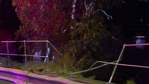 The woman crashed her car through the barrier about 12.30am. (9NEWS)