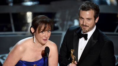 <b>Best Animated Short Film:</b><br><br>Kristina Hees and Patrick Osbourne accept the Oscar for their film 'Feast'. (AAP)