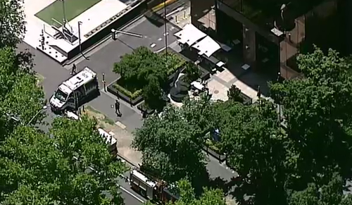 Emergency services at the scene on St Kilda Road, where both the US and Indian consulates are located.
