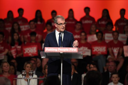 NSW Labor leader Michael Daley speaks during the NSW Labor Party election campaign launch in Revesby in southwest.