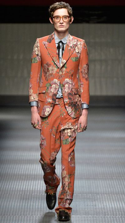 Danny trades in his arsenal of dull suits for this Gucci printed version.