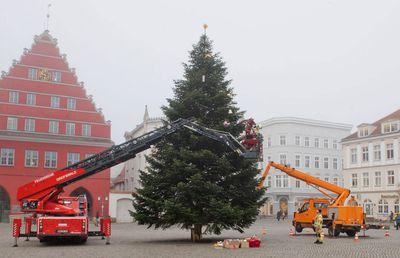 Santa Claus decorates Greifswalder Christmas tree