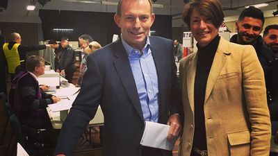 "Will an embattled Tony Abbott retain his long-held seat in Warringah? He uploaded this photo with his wife Margie accompanied only by the caption, ""Vote Liberal for a stronger economy"". (Facebook/Tony Abbott)"