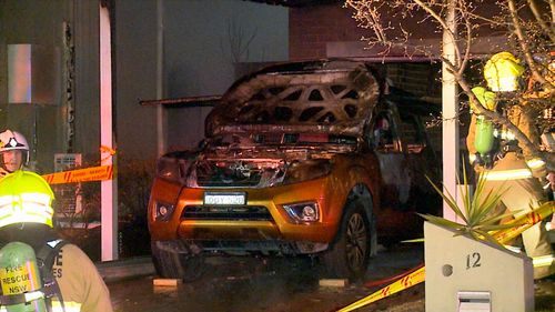 The father-of-two found the family car alight at 6:30pm. Picture: 9NEWS
