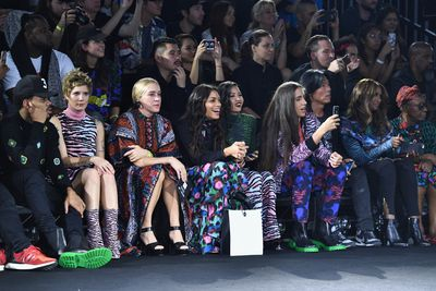 """Chloe Sevigny, Sienna Miller and Lupita Nyong'o all crammed into the most colourful front row since Cirque du Soleil to celebrate the release of Paris-based brand <a href=""""http://honey.nine.com.au/2016/08/23/14/31/kenzo-hm"""" target=""""_blank"""">Kenzo </a>and Swedish high street label H&M.<br> <br> While the vibrant collection won't land in stores until November 3, Joe Jonas crammed his feet into the cool gumboot-style boots and pregnant DJ Leigh Lazark was in a floating floor length dress.<br> <br> The high energy show featured models getting their groove on to NWA's Express Yourself and Ice Cube tearing it up on stage. <br> <br> """"Tonight was a celebration of everything we love about Kenzo x H&M – it was a fun, vibrant and unexpected celebratory mix of different worlds coming together,"""" says Carol Lim and Humberto Leon, Creative Directors of Kenzo. """"It was a show we will never forget."""" <br> <br> """"The launch of KENZO x H&M was truly spectacular,"""" says Ann-Sofie Johansson, Creative Advisor at H&M. """"It was amazing to see the collection come to life with all its incredible print, colour and energy. It was such an honor to have Jean-Paul Goude direct the show and he captured the mood perfectly."""" <br> <br> The upbeat event delivered a mood upswing from Lim & Leon's most recent runway show for their label Opening Ceremony where <a href=""""http://honey.nine.com.au/2016/09/16/14/41/whoopi-goldberg-new-york-fashion"""" target=""""_blank"""">Whoopi Goldberg</a> took to the runway to highlight issues surrounding gender equality and immigration in the upcoming election."""