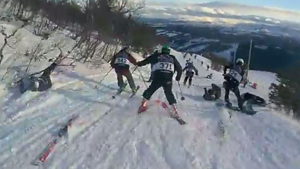 Crashing skiers cause massive pile-up in 'nutty race'
