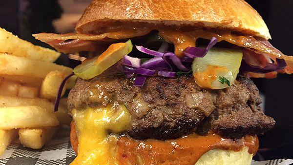 Rhonda's mountain burger with fresh-baked buns