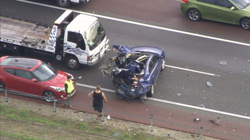 In total, four people were taken to hospital over the multi-vehicle crash. Picture: 9NEWS