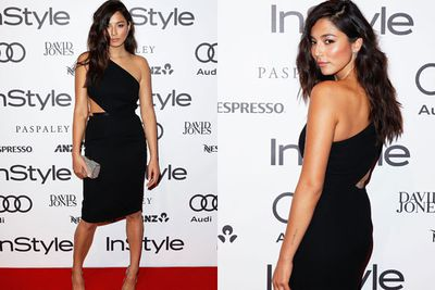 Cheeky cut-out! Jessica Gomes smoulders in an LBD with a twist on the InStyle red carpet.