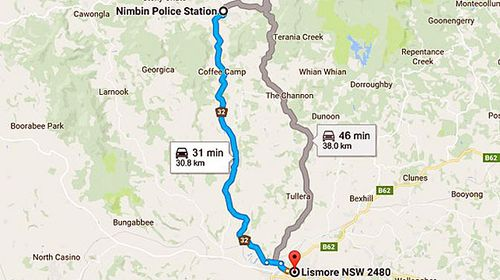 The 30 minute journey from Nimbin Police Station to Lismore. (Google Maps)
