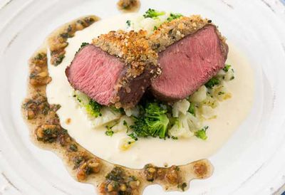 Crumbed lamb rump with walnut dressing
