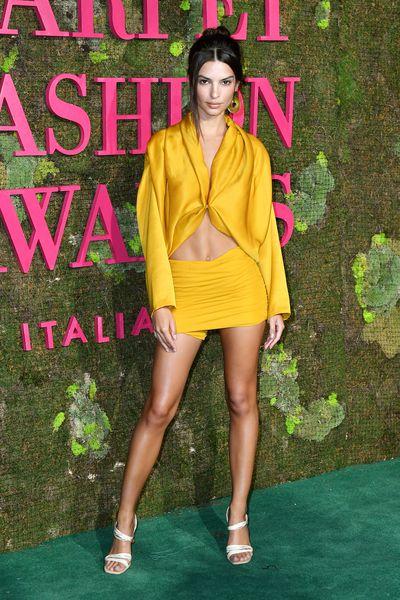 Emily Ratajkowski attends the Green Carpet Fashion Awards at Teatro Alla Scala on September 23, 2018 in Milan, Italy.