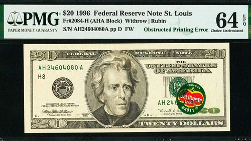 A banana sticker has made this $20 banknote near priceless.