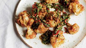 Pan-fried cauliflower salad with a caper pine nut and chilli dressing