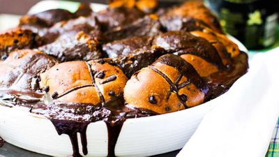 """And here's something cheeky to do with left over buns after you've made them -&nbsp;<a href=""""http://kitchen.nine.com.au/2016/06/06/12/54/alanas-choc-hot-cross-bun-pudding"""" target=""""_top"""">Alana's Choc hot cross bun pudding</a>"""