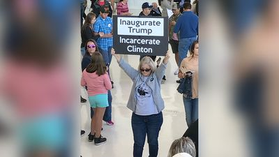"Mr Trump has sworn to see ""crooked"" opponent Hillary Clinton imprisoned. (9NEWS/Tom Steinfort)"