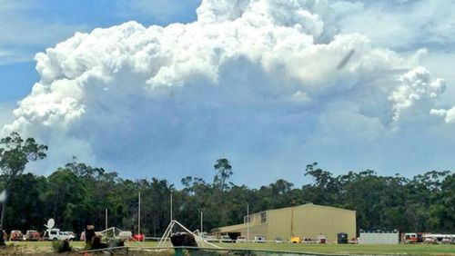 Huge clouds of smoke were emitted from the flames, seen from Northcliffe. (9NEWS)