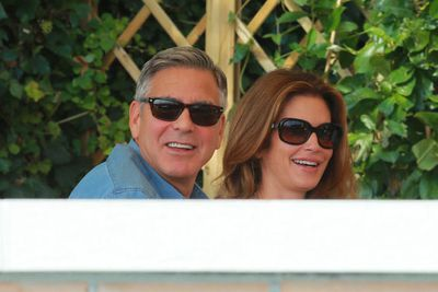 The morning of the wedding! <br/><br/>While Amal was busy prepared for the star-studded nuptials, George enjoyed an al fresco breakfast outside the Belmond Hotel Cipriani with best man Randy Herber and his supermodel wife Cindy Crawford. <br/>