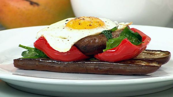 Grilled mushroom and vegetable stack