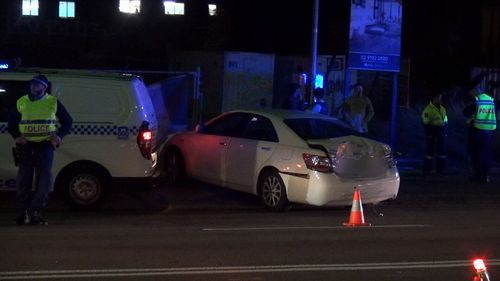 The truck smashed into another five vehicles before finally coming to a stop. The 22-year-old alleged offender was arrested. Picture: 9NEWS