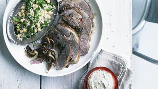 Roast rolled lamb with baba ghanoush and mint and parsley salad