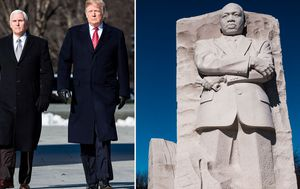 President Trump makes unannounced visit to Martin Luther King Jr memorial on national holiday