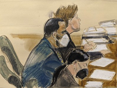 In this courtroom artist's sketch R. Kelly, left, listens during his trial in New York, Thursday, Aug. 26, 2021. The 54-year-old Kelly has repeatedly denied accusations that he preyed on several alleged victims during a 30-year career highlighted by his mega hit 'I Believe I Can Fly'.