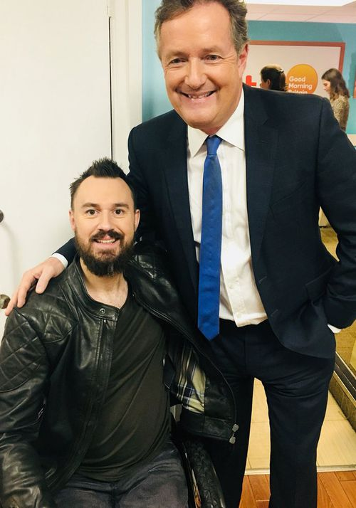 Mr Hibbert has become well known in the UK after talking about his treatment in Australia. Pictured with TV host Piers Morgan.