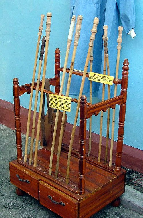 A display of rattan judicial canes from the Johor Bahru Prison museum, Malaysia. Photo courtesy PM Poon.