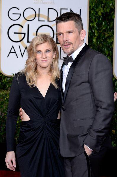 Ethan Hawke e Ryan Shawhughes chegam ao 72º Golden Globe Awards, realizado no Beverly Hilton Hotel em 11 de janeiro de 2015.