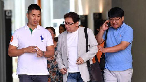 The family of murdered Korean student Eunji Ban at the Brisbane Supreme Court last month. (Image: AAP)