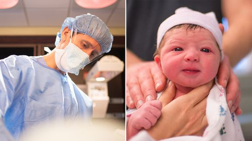 Photographer captures her own labour and daughter's birth
